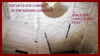 View from bellchamber into ringing chamber - no space!